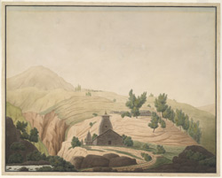 The village of Barhaiti with a temple in the foreground, Garhwal (U.P.). 21 April 1808